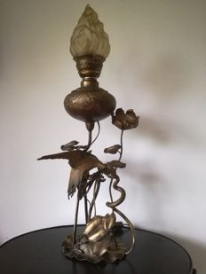 Large model metal oil lamp, France, circa 1890