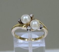 14 kt solid gold - Diamonds and cultivated pearls - Size 53.5.