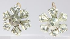 Short hanging gold backed silver Victorian diamond flower earrings - anno 1860