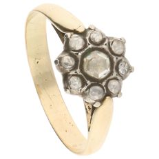 14 kt - Yellow gold rosette ring set with nine rose cut diamonds in a silver setting by the brand Constant - Ring size: 18.5 mm