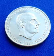 "Spain – Francisco Franco – 100 Pesetas silver coin – 1969*69 – ""CURVED EDGE"" Uncirculated – With certificate of authenticity"