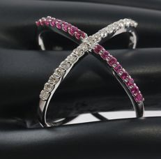 14 kt White Gold diamond and Ruby ring  –ring size 17 NL- ***no reserve price***