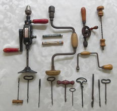 Collection of 5 antique wood drills with 10 loose drills