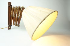 Vintage teak scissor lamp with a fabric shade