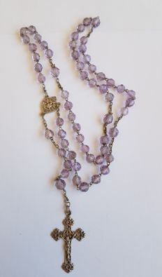 Antique silver rosary with cross and 59 purple beads