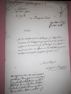 Autograph handwritten letter by General SAHUGUET to BONAPARTE 1st Consul Year 8 (1799) Letter on watermarked paper