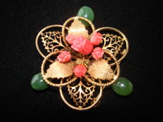 Gold plated Filigree crafted large flower Brooch with Jade & carved coral, vintage (1970s)