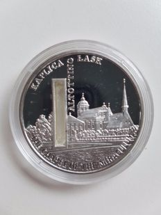 "Sierra Leone – 10 dollar, 2009, ""The Chapel of the Miraculum"", with holy water – 1 oz silver"