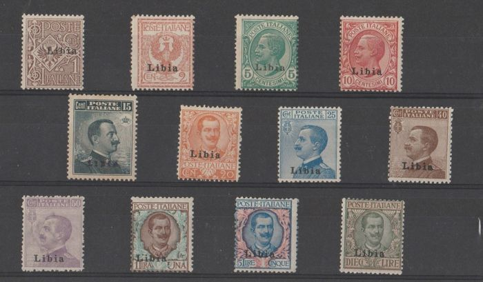 Italian Colonies, Libya - 1912–1915 - Ordinary Italian stamps with black Libya overprint - Sassone No. S1