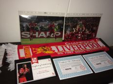 Liverpool FC - Legendary Champions League final 2005 items - Two signed Photo's and signed Match scarf + COA and photoproof!