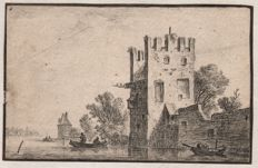Anthonie Waterloo (1610-1690) - The square tower on a river bank - Around 1650/670 / ( Added landscape by Gabrielle perelle (1604-1677 )
