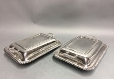 Set of identical silver plated double serving trays with classic decor and two handles, England, ca. 1925