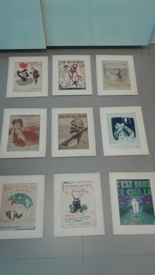Collection of 9 beautiful design original lithograph-covers of music impressions