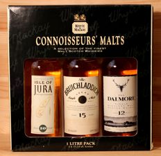 3 bottles 33.33cl - Bruichladdich aged 15 years + Dalmore aged 12 years + Isle of Jura aged 10 years
