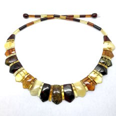 Wide necklace length 48 cm - Baltic amber slices width up to 22 mm (not pressed)