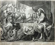 Peter Paul Rubens (1577-1640 - Maria Magdalena wast de voeten van Christus - published by Claes Jansz. Visscher (1587-1652)