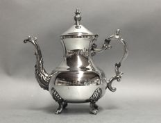 Large silver plated coffeepot on four claw feet, Rogers, U.S.A, ca 1925