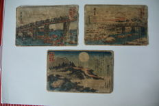 Three original coloured woodcarvings Utagawa Hiroshige (1797-1858) – Japan – circa 1830