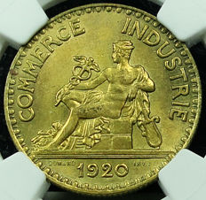 France - 2 Francs 1920 'Chambre de Commerce' - NGC MS63