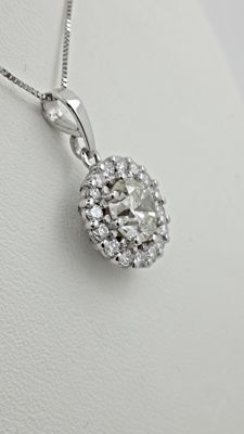 2.00 ct round diamond pendant in 14 kt white gold - 42cm