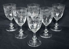 "6 water glasses 16 cm in Saint Louis Crystal, model ""Massenet"" engraved, with Venetian sides"" Louis XV style, circa 1900"