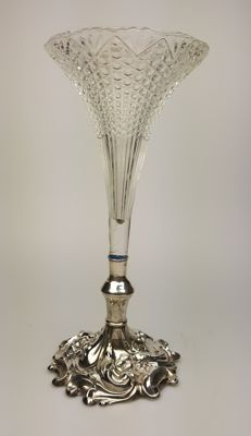 Crystal vase with silver base, richly decorated - Art Nouveau - 30s
