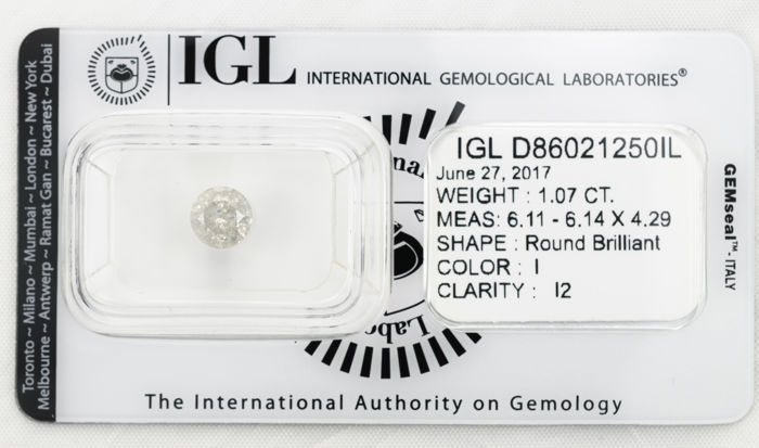 1.07 ct brilliant cut diamond  I  I2