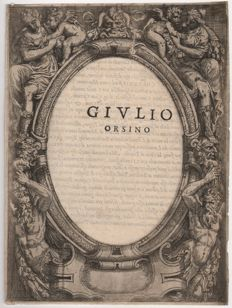 Anonymous ornamental Italian etching concerning the life of Giulio Orsini  (1477-1517 )