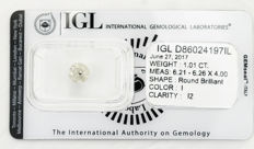 1.01 ct brilliant cut diamond  I  I2