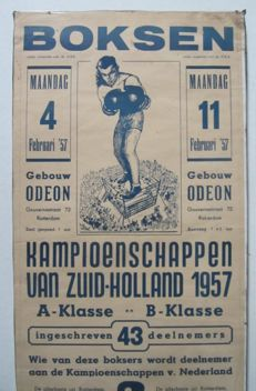 Poster Rotterdam; boxing matches - 1950s