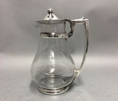Glass decanter for water or wine with silver plated mounting, England, ca. 1935