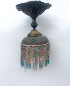 Ceiling lamp in brass and orientalist style glass beads 1920s