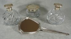 4-piece dressing table set - Mirror and jars in sterling silver - Engraved glass - Spain - Early 20th century