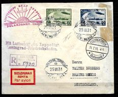 Russia, 1931 – Registered aerogram – Zeppelin Polar Cruise from Lenigrad to Braunschweig of 25/7/31