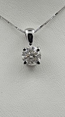 1.14 ct round diamond pendant in 14 kt white gold - 42cm