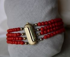 4-string blood coral bracelet with 14kt. Gold lock. 100% real antique blood of good quality corals. Beautiful deep red colour and luster.