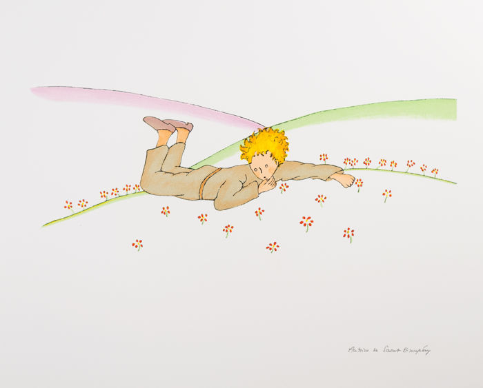 Antoine de Saint-Exupéry (after) - Le Petit Prince parmi les fleurs (The Little Prince Lying On The Grass)