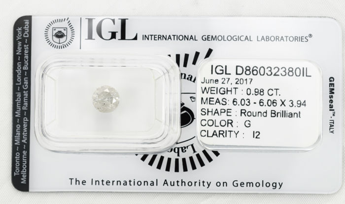 0.98 ct brilliant cut diamond  G  I2