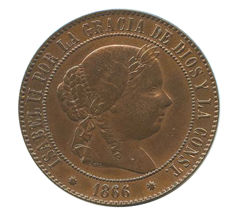 Spain - Isabel II - 5 escudo centimes - 1866 - Barcelona