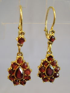 Victorian gold earrings with garnet roses, 2 level design