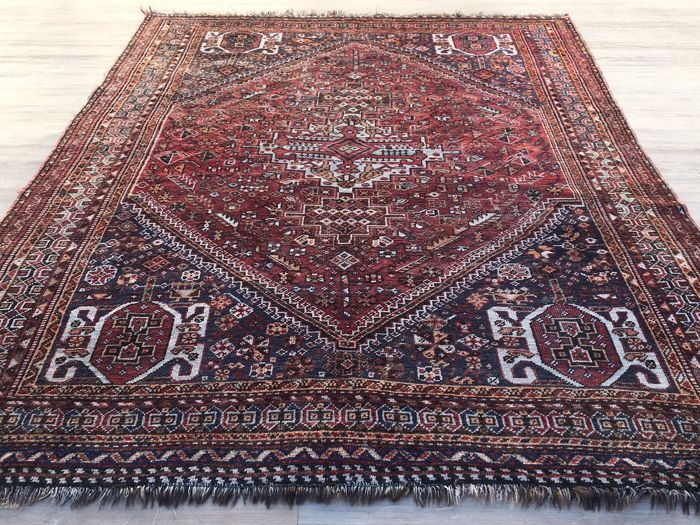 Persian antique GASHGHAI - king of the nomads rug - Heibathlou pattern - approx. 247 x 162 cm - with certificate of authenticity