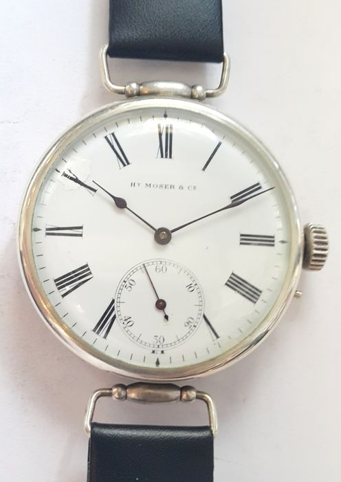 H. Moser & Cie, early marriage wristwatch, Switzerland, 1915