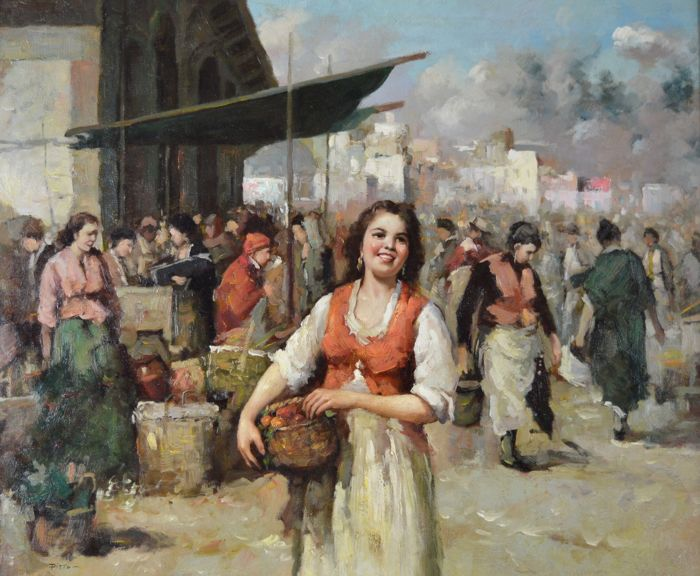 Giuseppe Pitto (1857-1928) - The beauty at an Italian market
