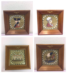 Americano: 4 stuks - Borduurwerk van The White House/Betsy Ross/ George Washington/ Bootreis in een Betsy Ross vlag, USA, 20e eeuw