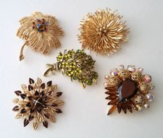 Vintage USA Top Designers 5 Brooches Collection