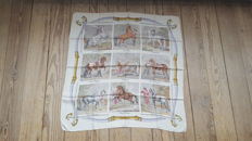 Very rare item: Vintage, Hermès Paris scarf, 'Les Races de Chevaux' – designed by Hugo Grygkar. In good condition