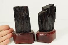 Big black Tourmaline lot - high luster crystals on wooden stands - 800gm (2)