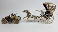 925 silver car of the brand Isotta Fraschini/ and horse with carriage
