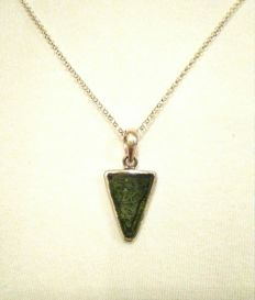Moldavite pendant set in 925 Silver + 45 cm long 925 Silver chain.