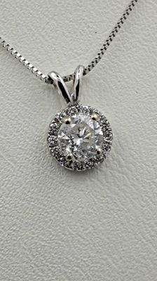 0.64 ct round diamond pendant in 14 kt white gold - 42cm